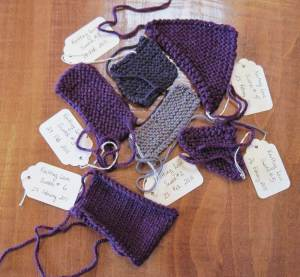 My swatches from my 2011 knitting experiment.