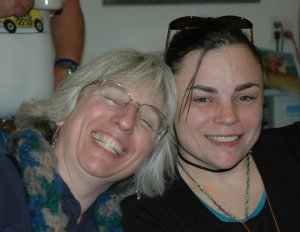 Me (went squinty grin) and Julia at CLF Retreat October 2010