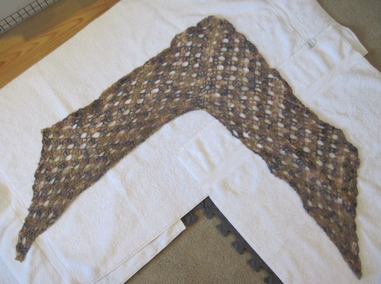 Shawl laid out for wires