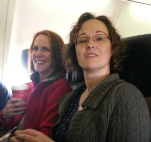 Jill and Tabs on the inbound flight