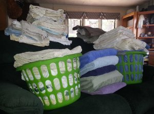 Piles of Folded Laundry