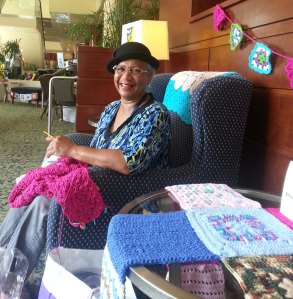 Joan Davis hanging out in the Crochet Lounge.