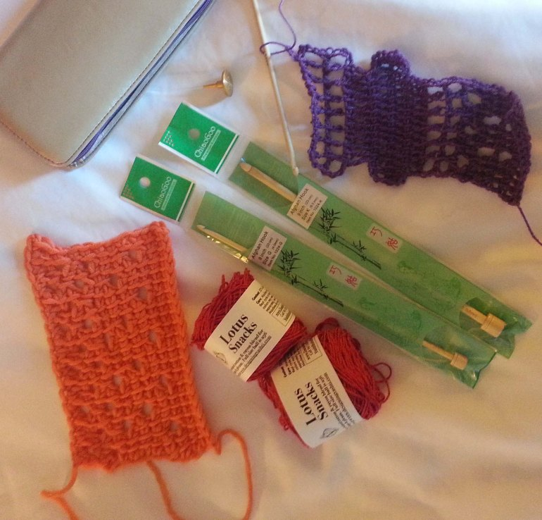 My Swatches, hooks and yarn from Vashti's class.