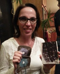 Annette with her inspiration photo and squares