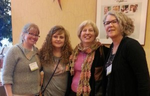 One of the few photos of friends at the Yarn Fest. Toni, Brenda, Me and Marcy
