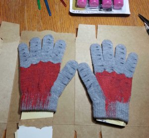 Back of gloves red progressing