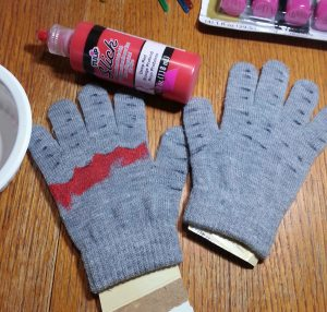Beginning to Paint Gloves