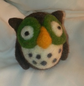"Owl I made in the ""Needle Felting Owl with Woolbuddy"" class."