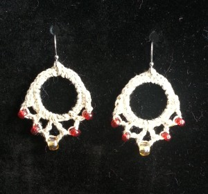 Red w Gold Earrings 2