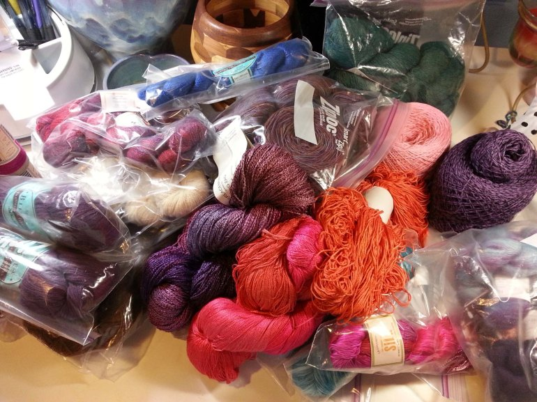 Work table covered with Yarn