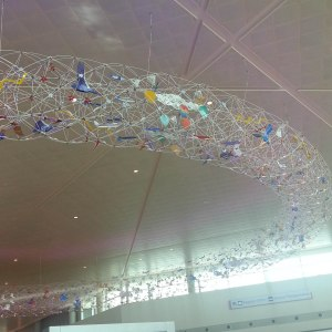 Art along the ceiling in Lovefield Airport