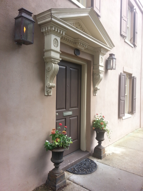 Doorway with lamps