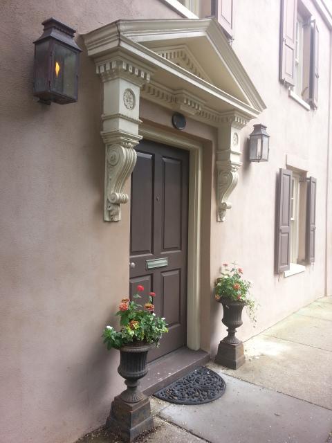 Doorway with lamps