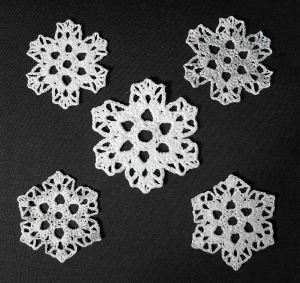 5 snowflakes 2 sizes Sparkling Ice - Andee Graves M2H Designs