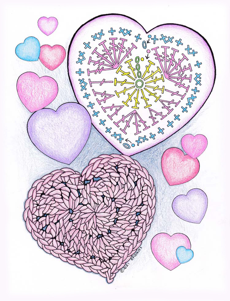 Coloring page of 2021 Happy Valentines colored with coloring pencils in pinks, purples and blues.